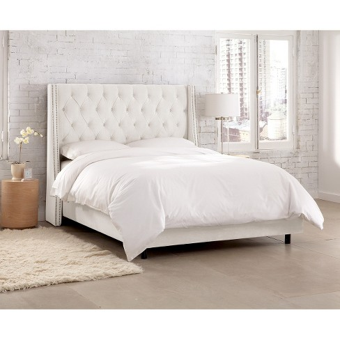 Diamond Tufted Velvet Nail Button Wingback Bed Skyline Furniture