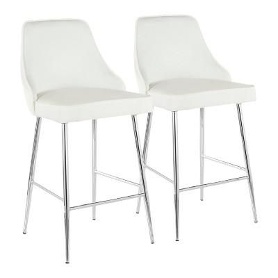 Set of 2 Marcel Contemporary Counter Height Barstool Chrome/White Velvet - LumiSource