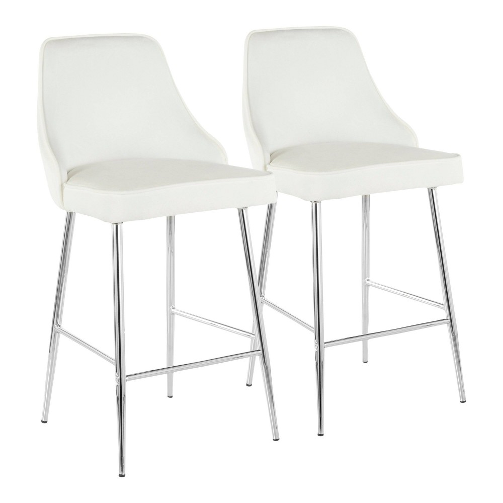 Set of 2 Marcel Contemporary Counter Stool Chrome/White Velvet - LumiSource
