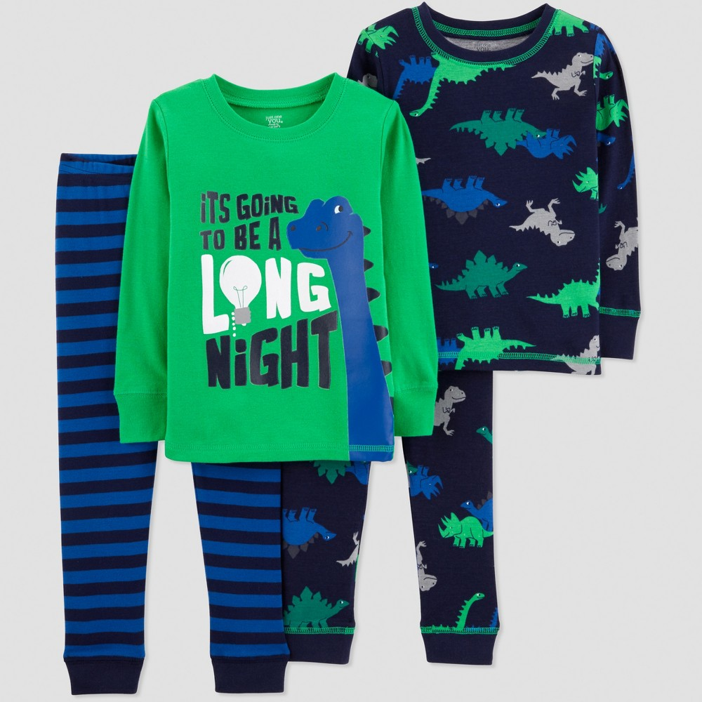 Toddler Boys' 4pc Long Night Dino Pajama Set - Just One You made by carter's Green 5T