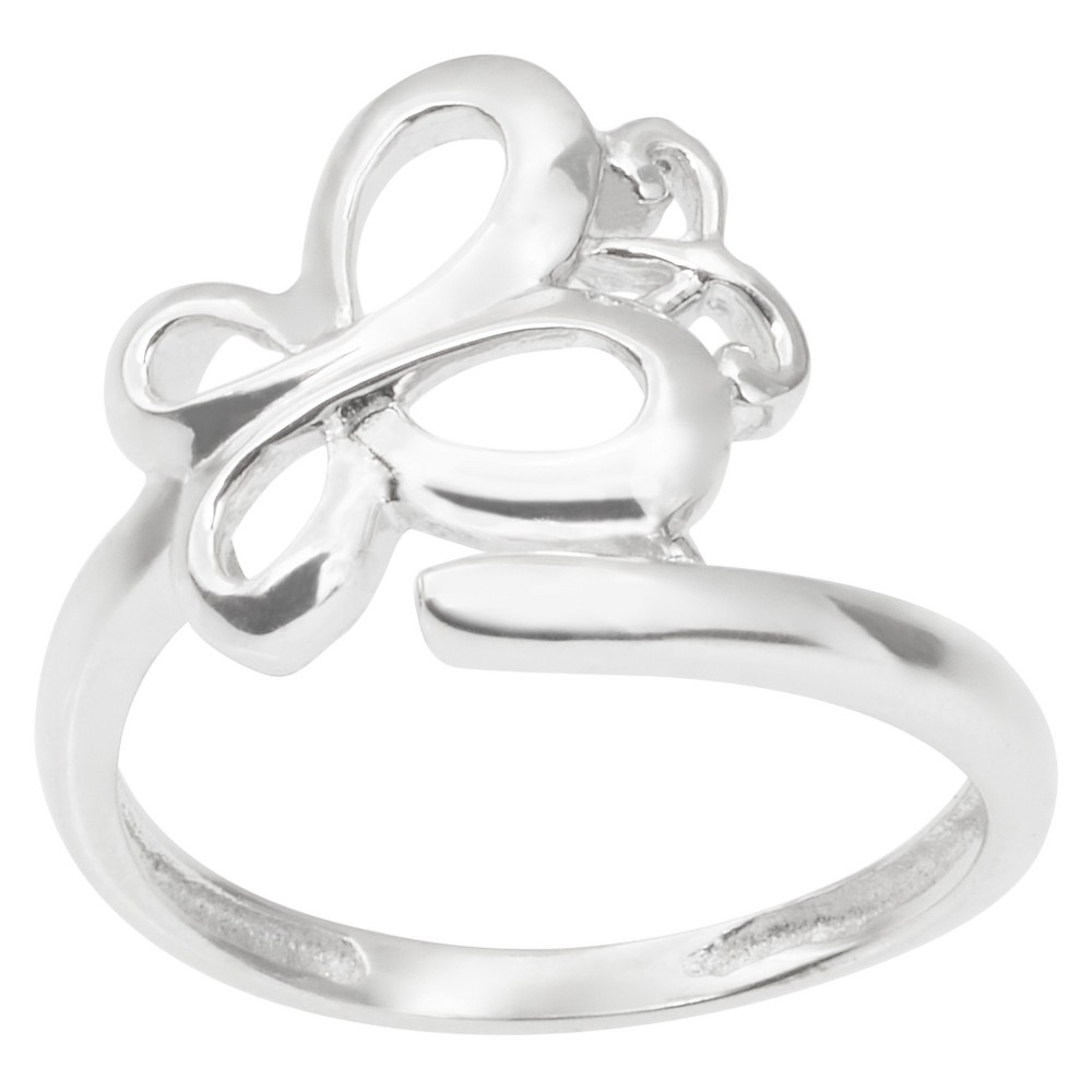 Women's Journee Collection Butterfly Ring in Sterling Silver - Silver (8)
