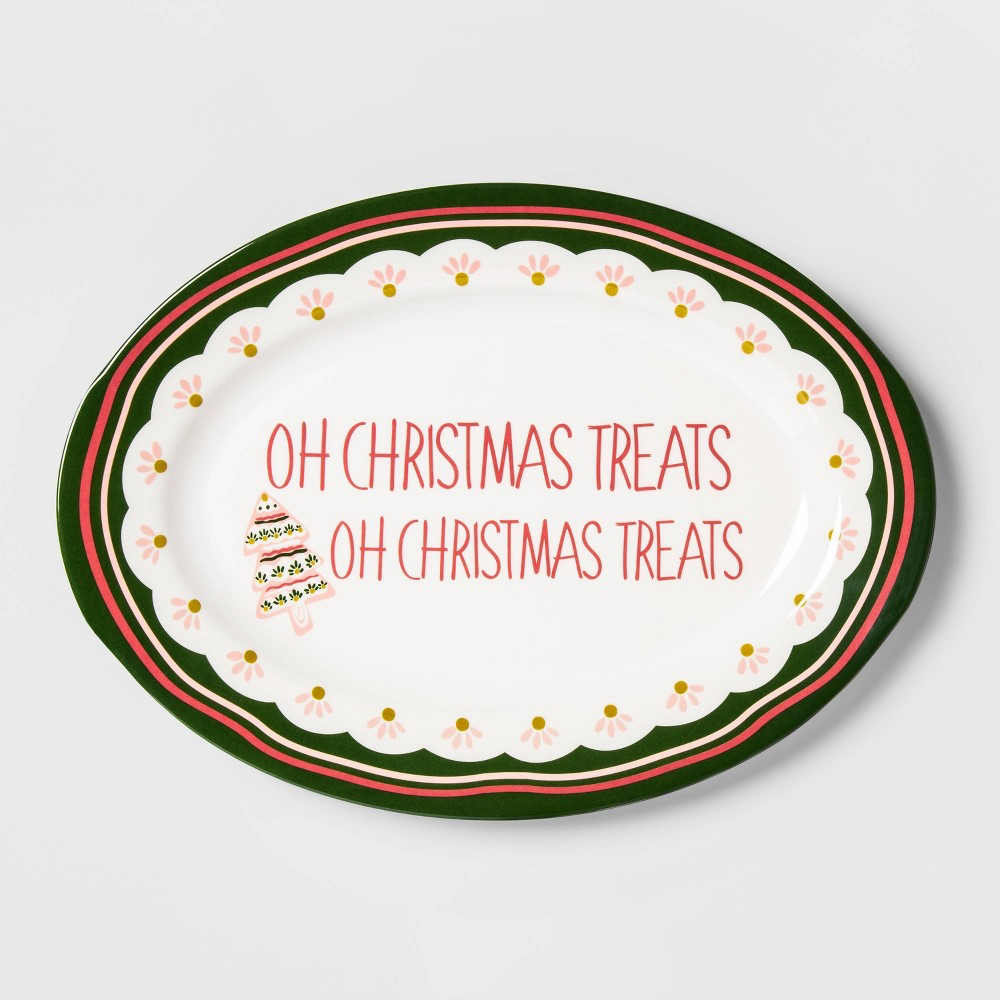 "Image of ""11.9"""" x 7.9"""" Melamine Oh Christmas Treats Serving Platter White - Opalhouse"""