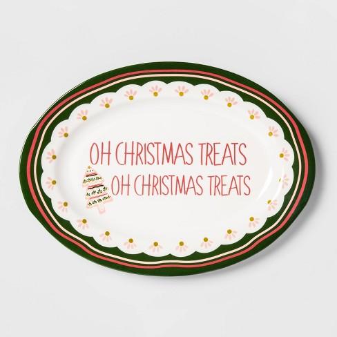Melamine Christmas Platters.11 9 X 7 9 Melamine Oh Christmas Treats Serving Platter White Opalhouse