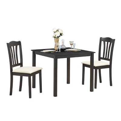 Costway 3 Piece Dining Set Square Dinning Pub Table W/ 2 Solid Wooden Chairs Padded Seat Coffee Beige