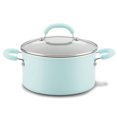 Rachael Ray Create Delicious 6qt Aluminum Nonstick Stock Pot with Lid Light Blue
