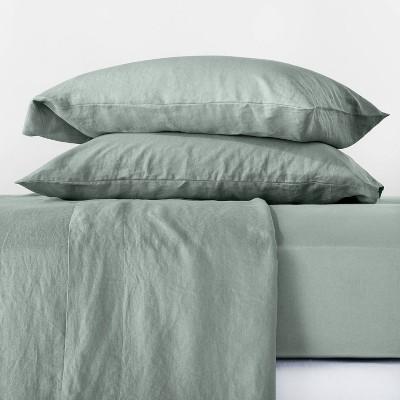Queen 100% Linen Solid Sheet Set Sage Green - Casaluna™