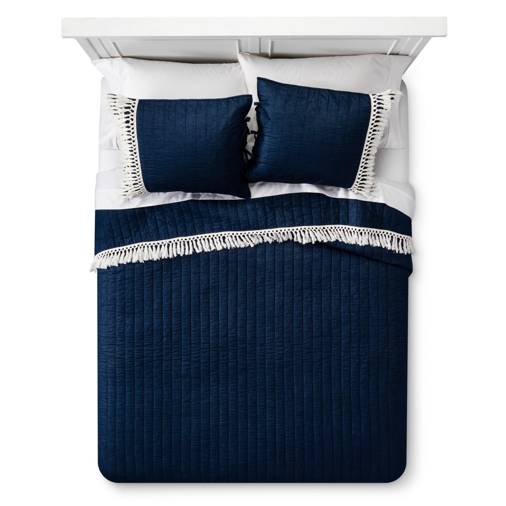 Navy (Blue) Fringe Quilt Set (Twin) - Mudhut
