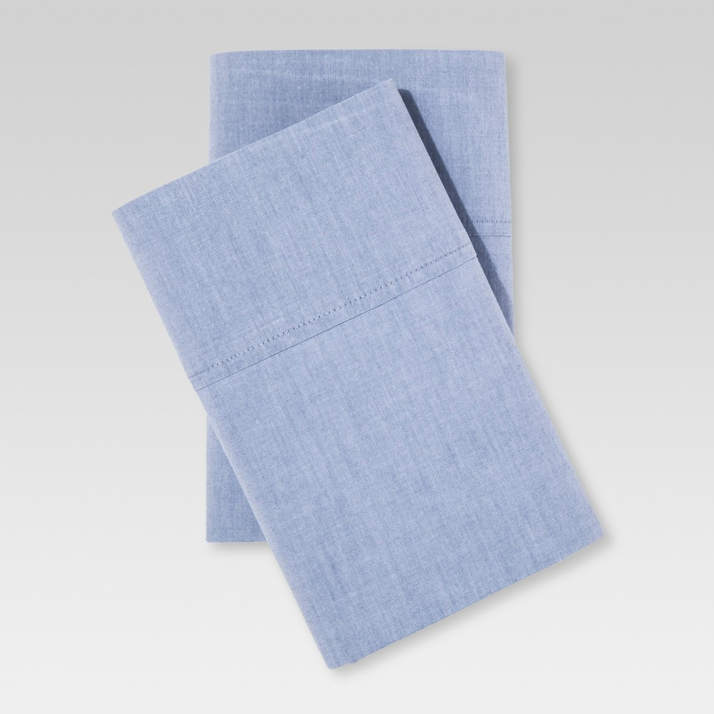 Image of Chambray Pillowcase Set (King) Metallic Blue - Threshold , Grey Blue