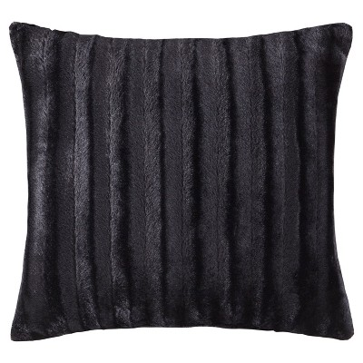 Black York Brushed Solid Stripe Plaited Long Faux Fur Throw Pillow (20 x20 )