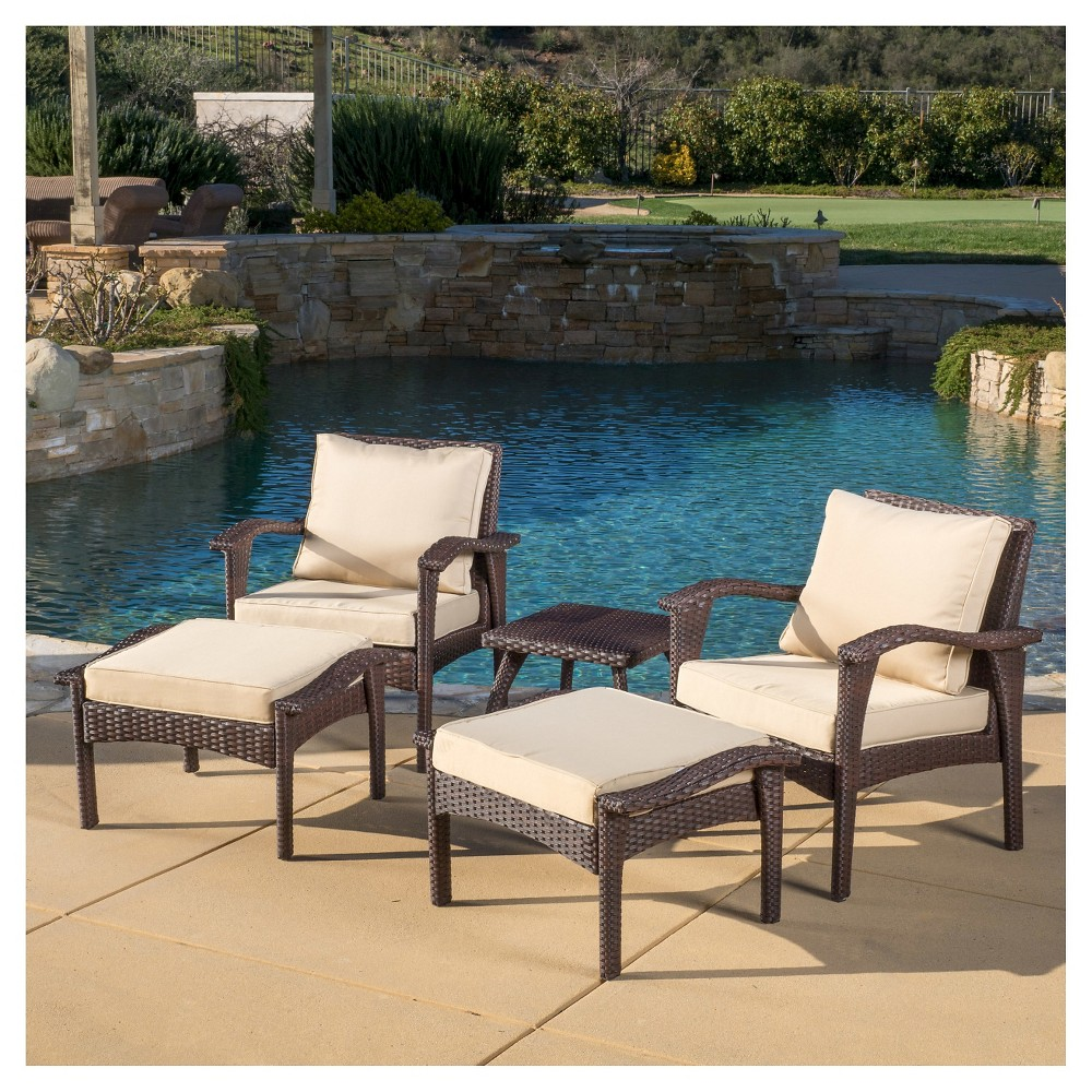 Honolulu 5pc Wicker PatioSeating Set with Cushions - Brown - Christopher Knight Home
