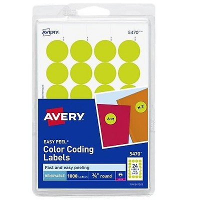 """Avery Easy Peel Laser Color Coding Labels 3/4"""" Dia. Neon Yellow 24/Sheet 538090"""