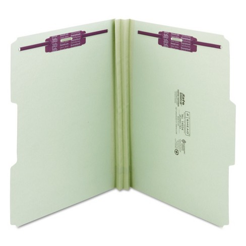 Smead 2 Expansion Fastener File Folder 1 3 Top Tab Letter Gray Green 25ct