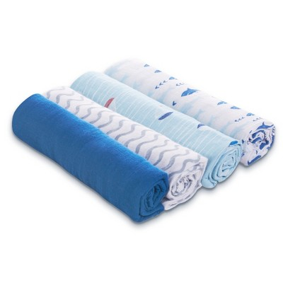 Aden by Aden + Anais Swaddles 4pk - Making Waves - Light Blue