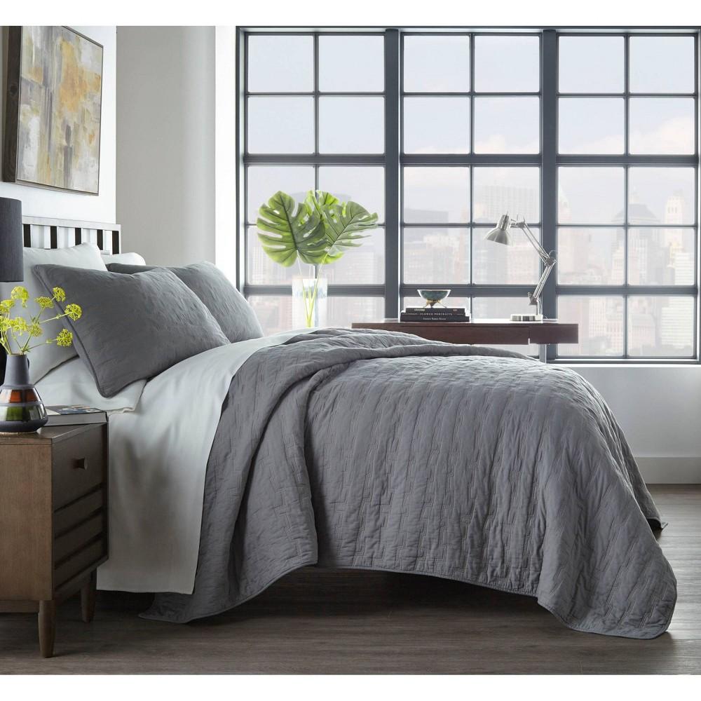 Image of City Scene King Avondale Quilt Set Gray