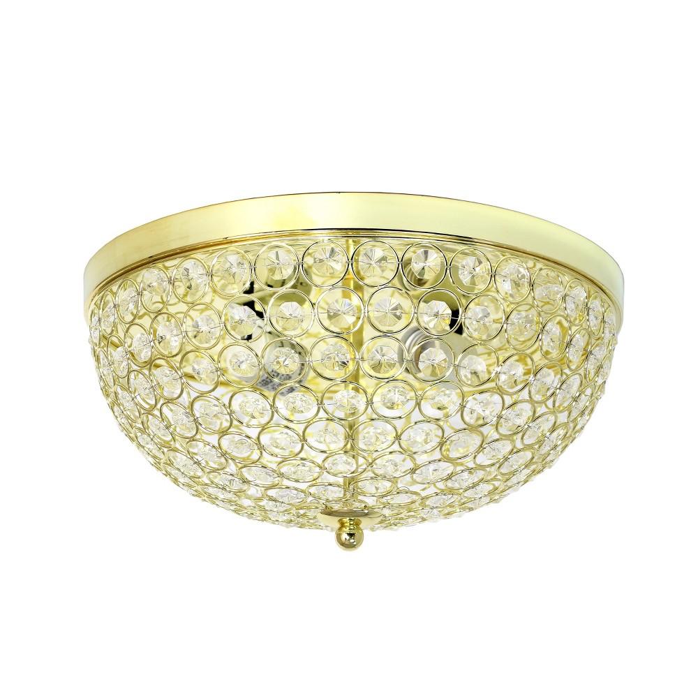 """Image of """"2 Light 13"""""""" Elipse Crystal Flush Mount Ceiling Gold - Elegant Designs"""""""