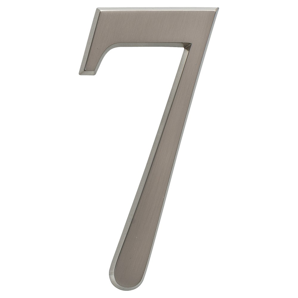 "Image of ""4.75"""" Metal Number 7 - Brushed Nickel - Whitehall Products, Silver"""