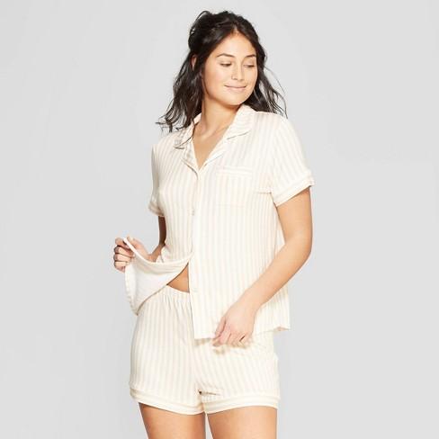 Women's Striped Beautifully Soft Notch Collar Pajama Set - Stars Above™ Yellow - image 1 of 2