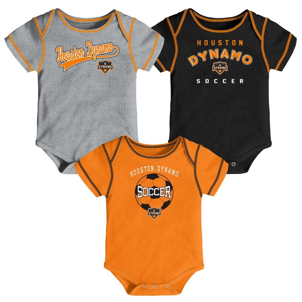 Mls Baby 3pk Onesies Houston Dynamo - 6-9M, Infant Boy's, Multicolored