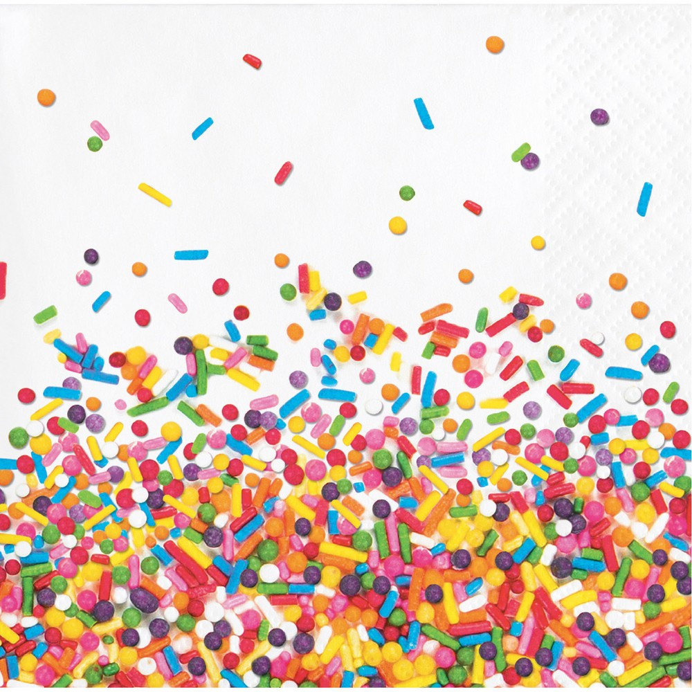 Image of 16ct Confetti Sprinkles Beverage Napkins