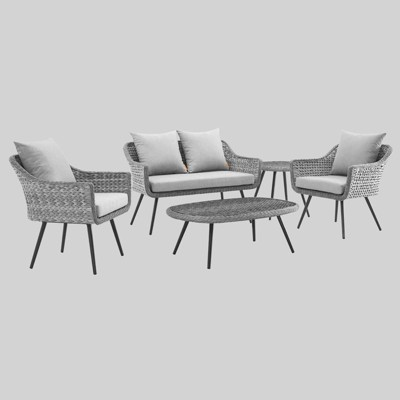 Endeavor 5pc Outdoor Wicker Rattan Patio Sectional Sofa Set Gray - Modway