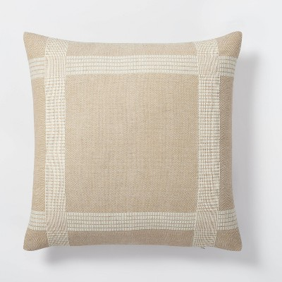 Oversized Woven Cotton Wool Windowpane Square Throw Pillow Brown - Threshold™ designed with Studio McGee