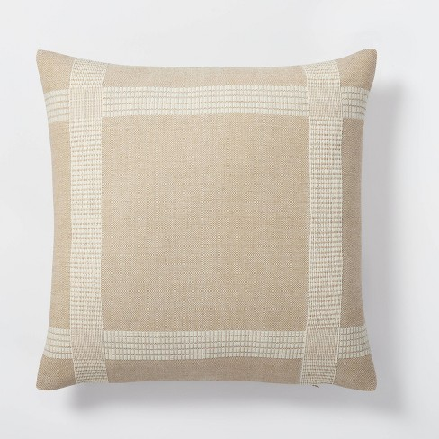 Oversized Woven Cotton Wool Windowpane Square Throw Pillow Brown - Threshold™ designed with Studio McGee - image 1 of 4