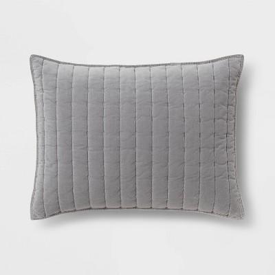 Standard Channel Stitch Velvet Sham Gray - Threshold™