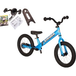 Strider 14x Sport Balance Bike + Easy - Ride Pedal Kit - Blue