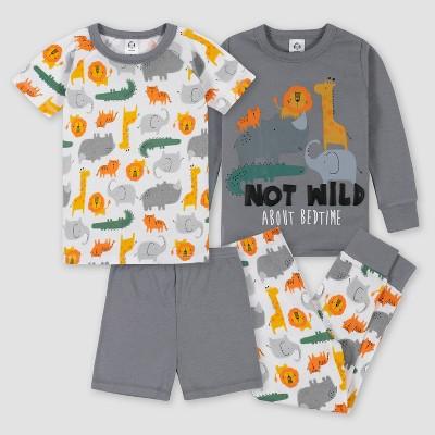 Gerber Toddler Boys' 4pc Pajama Set - White/Gray