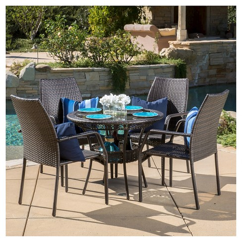Lisbon 5pc Wicker Patio Dining Set - Brown - Christopher Knight Home - image 1 of 4
