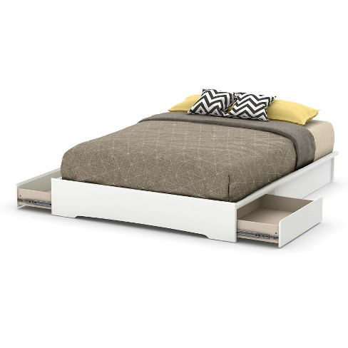 Basic Platform Bed With Storage Queen, Queen Platform Bed Frame With Storage White