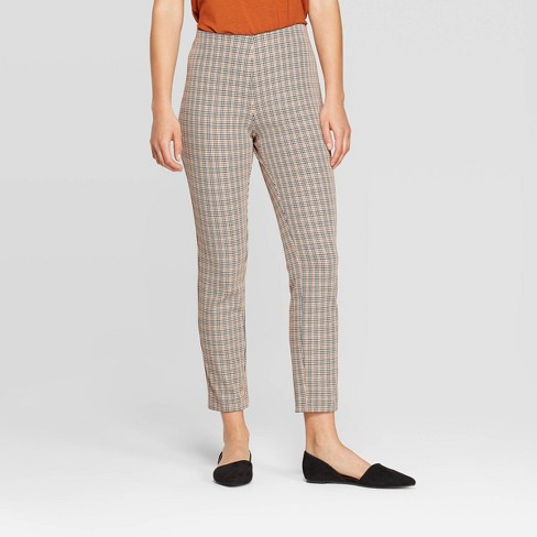 Women's Plaid High-Rise Skinny Ankle Pants - A New Day™ Black/Rust - image 1 of 3