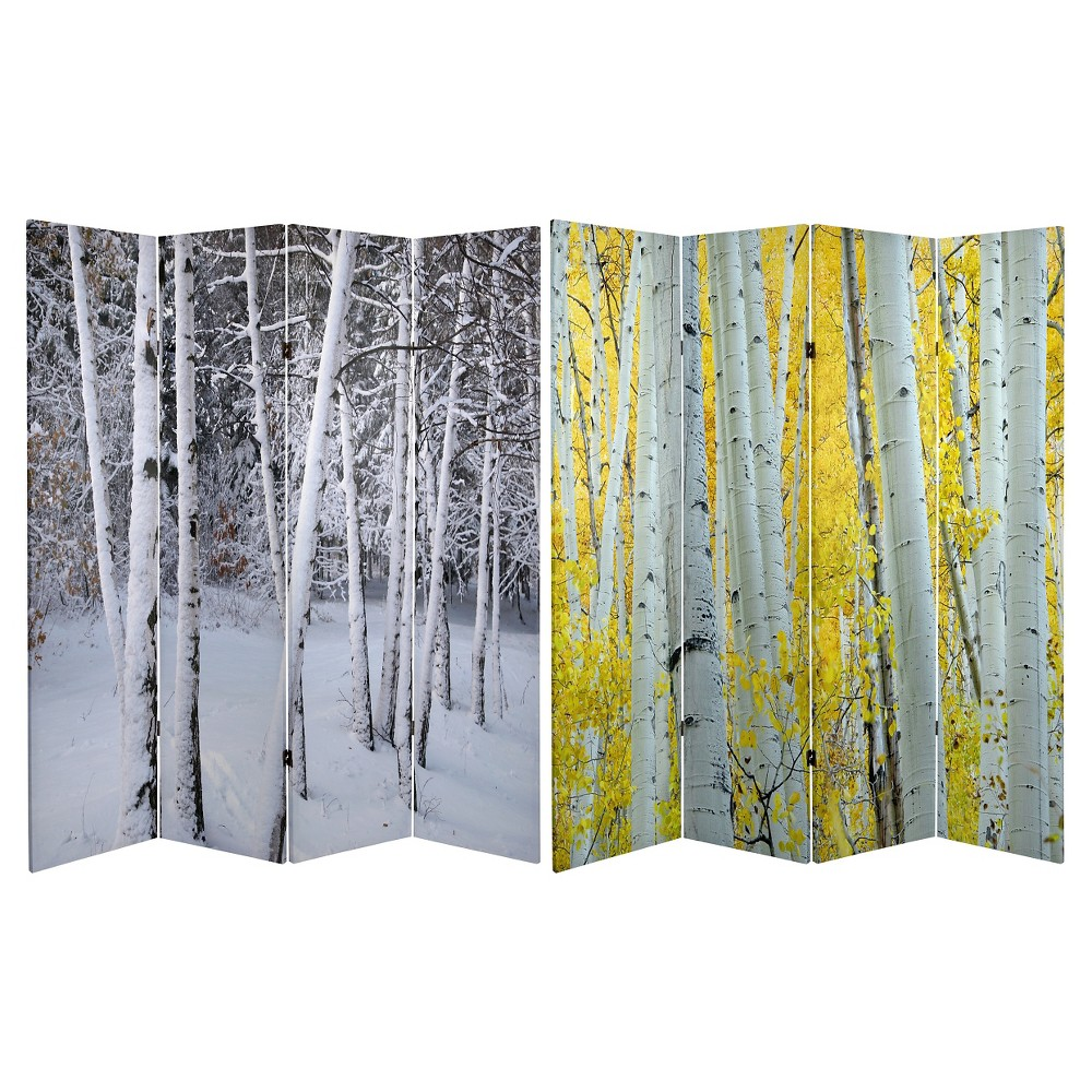 Birch Trees Double Sided Room Divider - Oriental Furniture, Multi-Colored