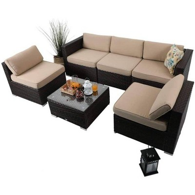 6pc Outdoor Rattan Wicker Sectional Sofa Set - Beige - Captiva Designs