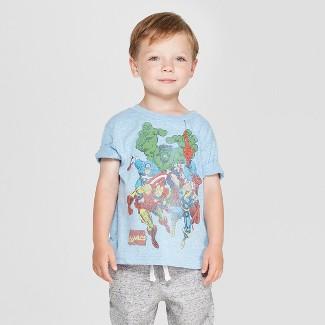 Toddler Boys' Marvel Short Sleeve T-Shirt - Blue 2T