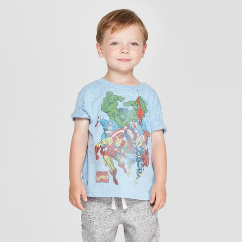 Toddler Boys' Marvel Short Sleeve T-Shirt - Blue - image 1 of 3