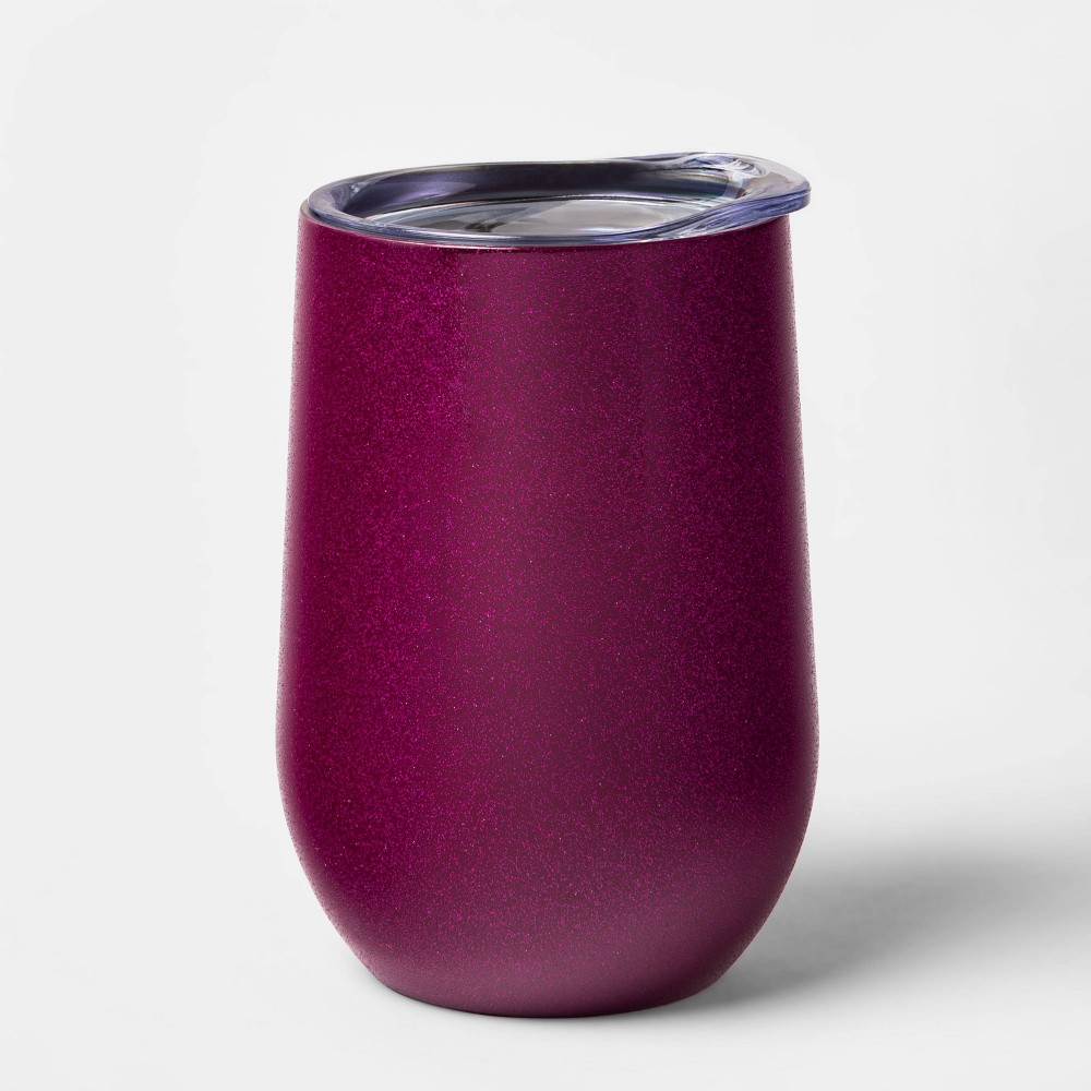 Image of 11oz Double Wall Stainless Steel Glitter Wine Tumbler with Lid Magenta - Room Essentials , Purple
