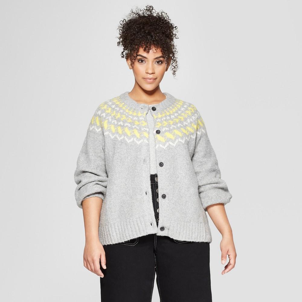 Women's Plus Size Long Sleeve Fair Isle Cardigan - Who What Wear Gray 2X