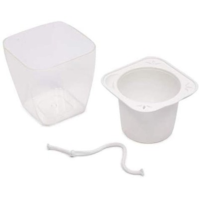 """Okuna Outpost 4 Pack Plastic Self Watering Planter Pot for Home Decor, White, 3.4"""" x 4.9"""""""
