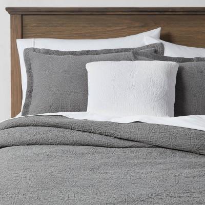 Queen Matelasse Medallion 8pc Comforter & Sheet Bundle Gray - Threshold™