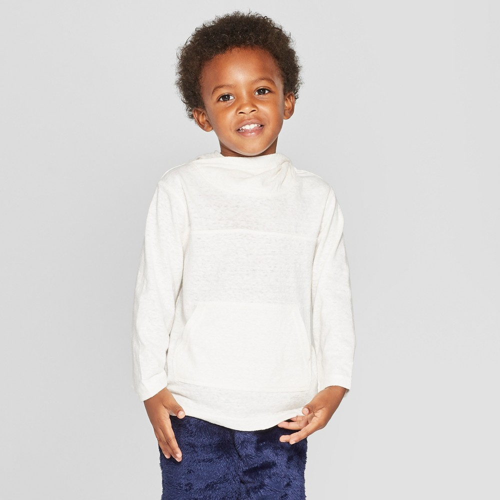 Toddler Boys' Shawl Hoodie Sweatshirt - Cat & Jack Cream 2T, White