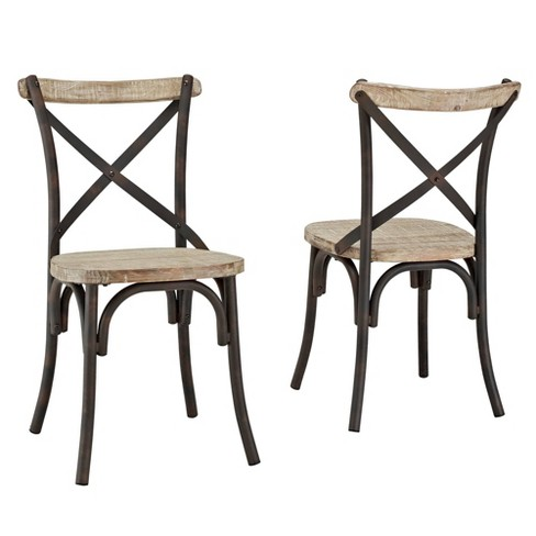 Set of 2 Industrial Wood Metal Dining Chairs Brown - Saracina Home - image 1 of 4