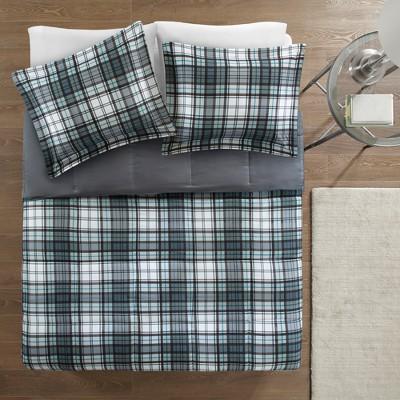 Gray Plaid Hartford 3M Scotch Gard Down Alternative All Season Comforter Set Full/Queen 3pc