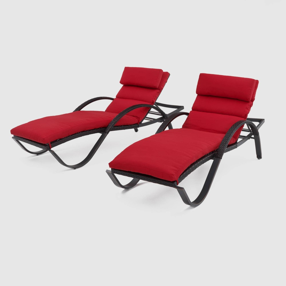 Deco 2pk Chaise Lounges - Sunset Red - Rst Brands