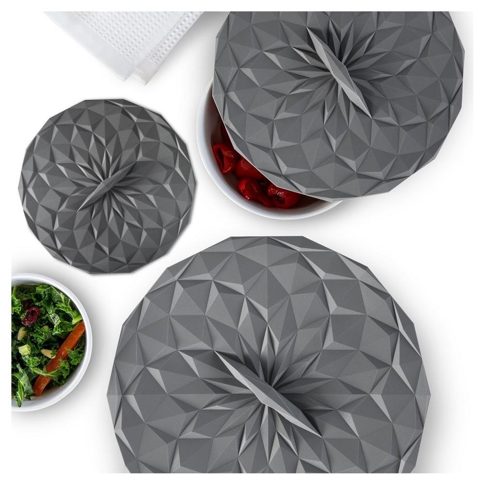 Image of Gir Round Silicon Storage Lids 3pc Set Gray