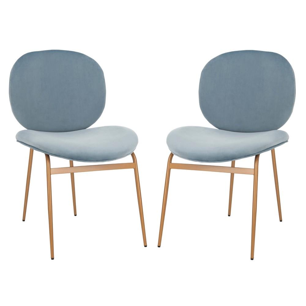 Set of 2 Jordana Round Side Chair Slate Blue/Gold - Safavieh