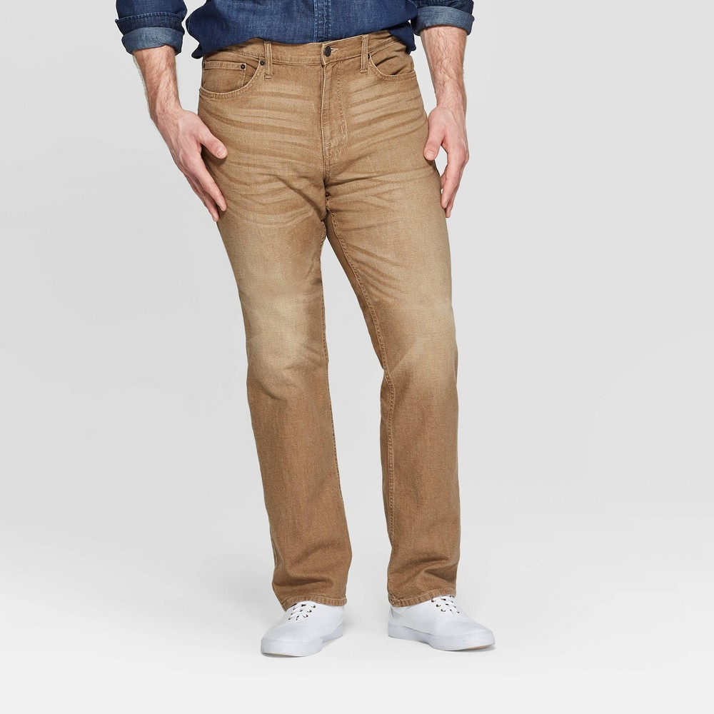 Men's Tall 35.5 Straight Fit Jeans - Goodfellow & Co Khaki 34x36, Beige