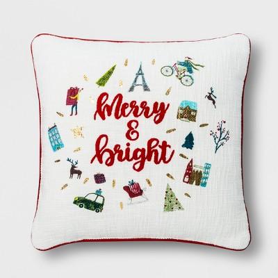 Merry & Bright Square Throw Pillow Cream - Opalhouse™
