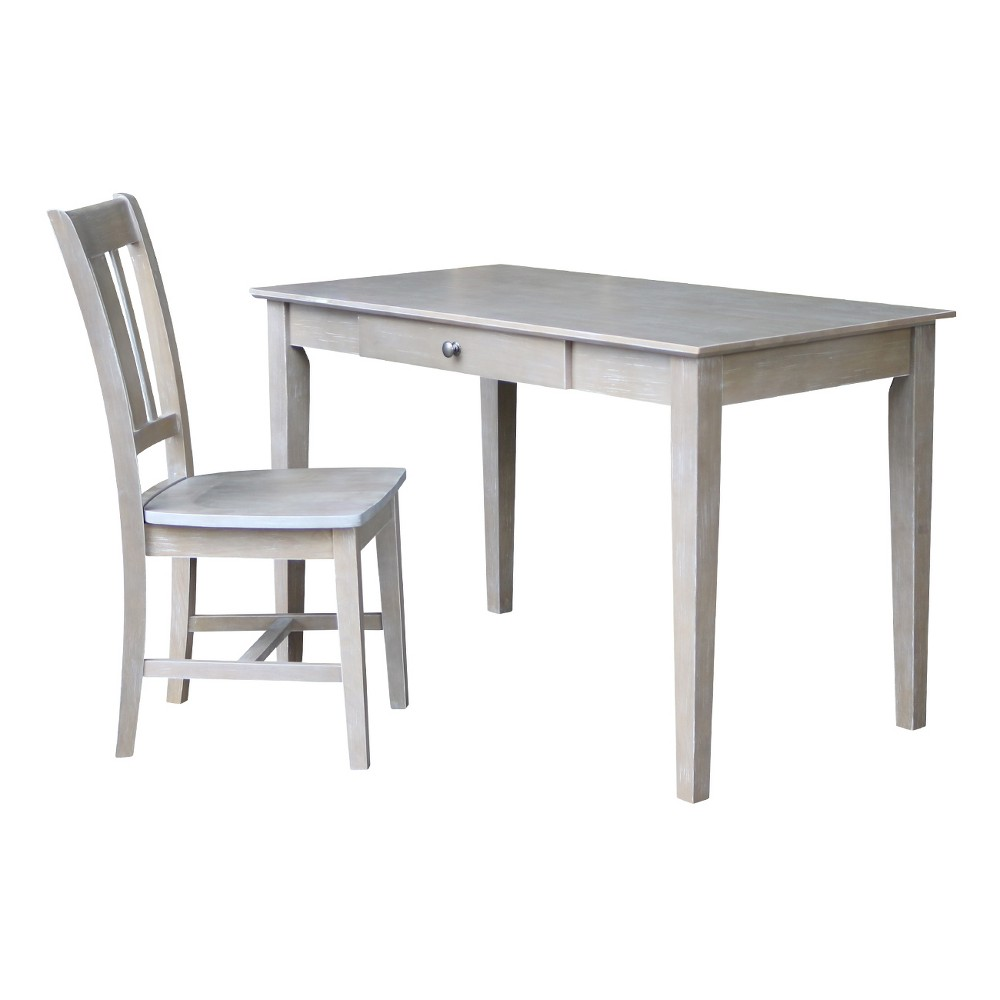 Desk with Drawer and Chair - Washed Gray Taupe - International Concepts For those who appreciate high quality wood furniture with a traditional and elegant look. International Concepts home furnishings will complement any décor. Color: Gray.