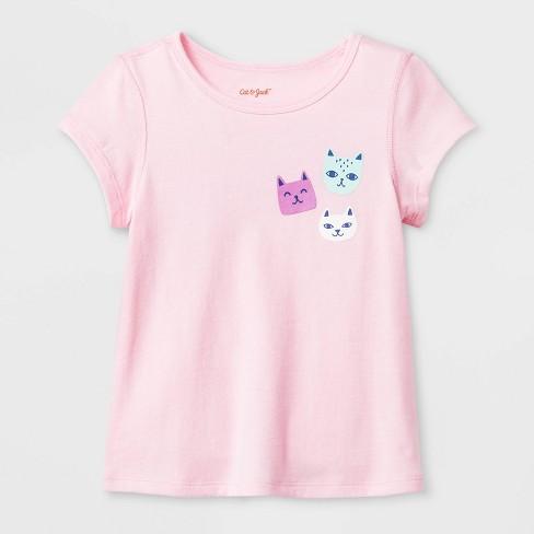Toddler Girls' Adaptive Cats Graphic T-Shirt - Cat & Jack™ Light Pink - image 1 of 1